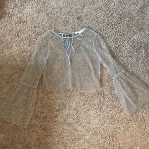 Forever 21 Sheer Long Sleeve with Pearls